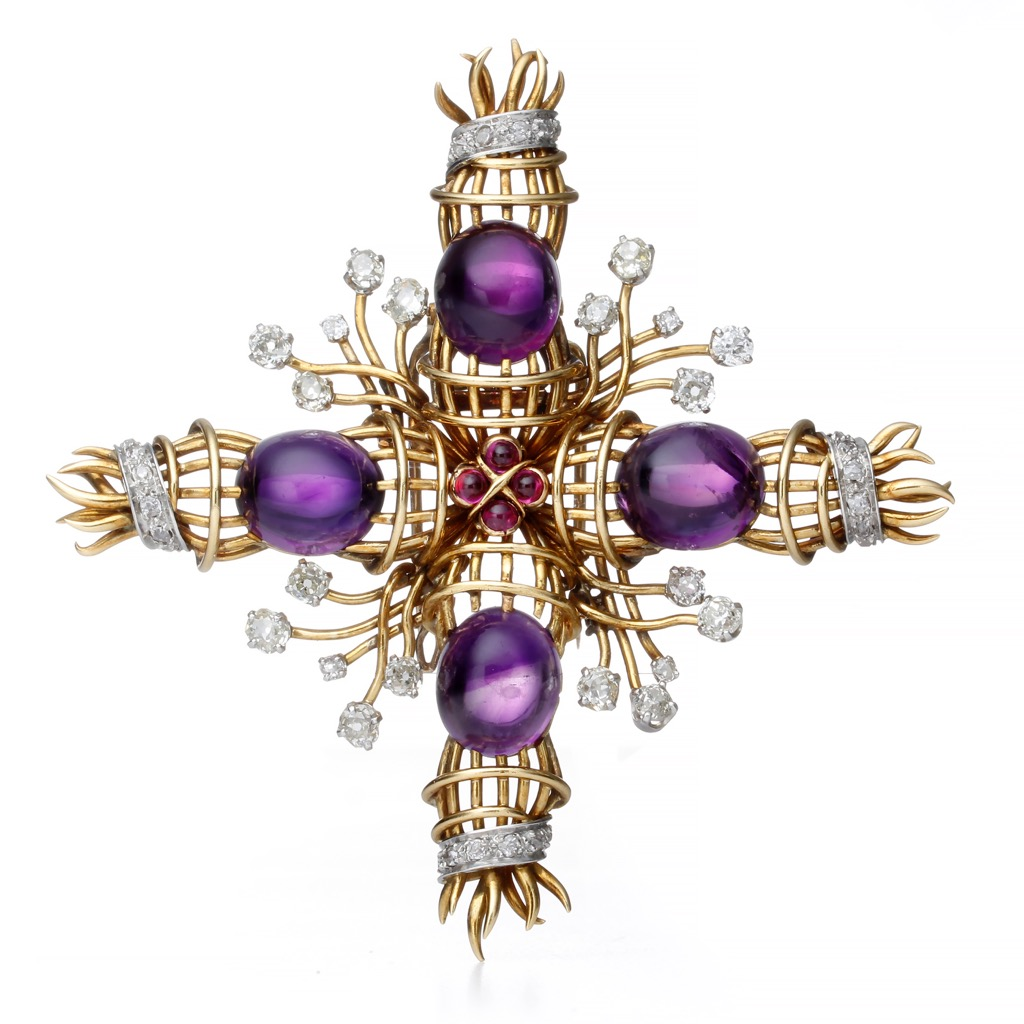 Silm Keith's Cross Brooch by Schlumberger, 1948 Photo Tiffany & Co. Archives