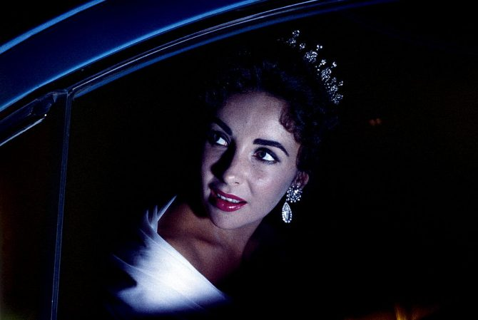 Elizabeth Taylor wearing her antique diamond tiara at the 10th Cannes Film Festival in 1957. Photo Getty