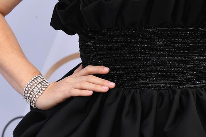 Detail of Amy Adams diamond and platinum Cartier bracelet