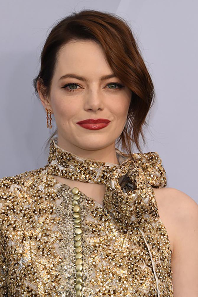 Emma Stone in Louis Vuitton earrings at the SAG Awards