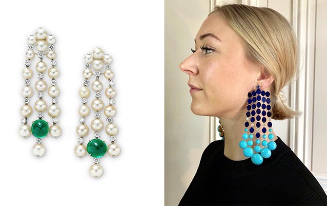 Earrings by Sabba composed of natural pearls, diamonds and emeralds and lapis and turquoise. Photo FD Gallery