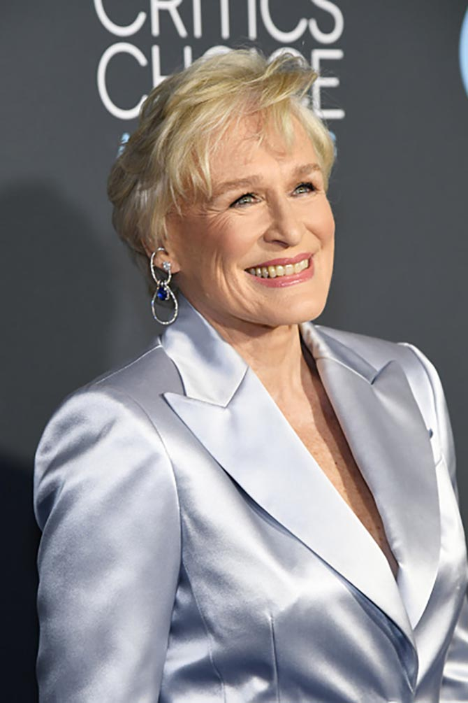 Glen Close in Ana Khouri diamond and Tanzanite Teresa earrings