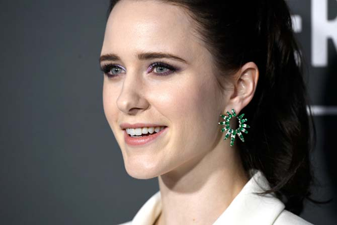 Rachel Brosnahan in Nikos Koulis earrings at the Critics' Choice Awards