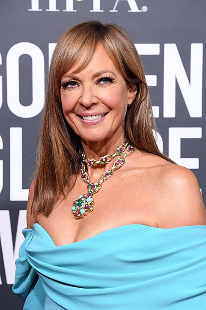 Allison Janney in a colorful David Webb pendant necklace.