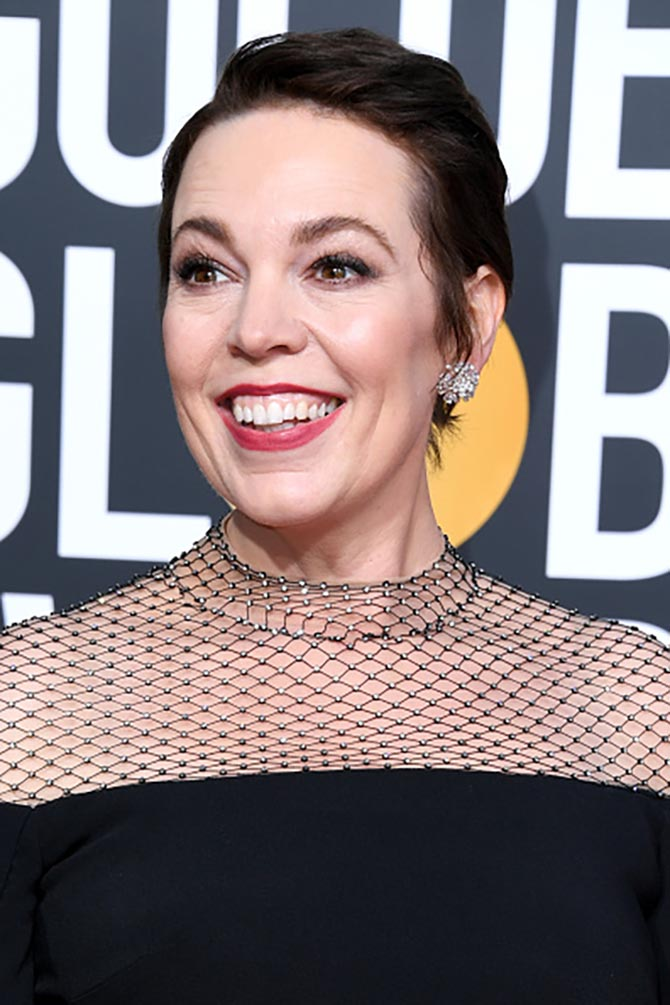 Olivia Colman in diamond cluster earrings