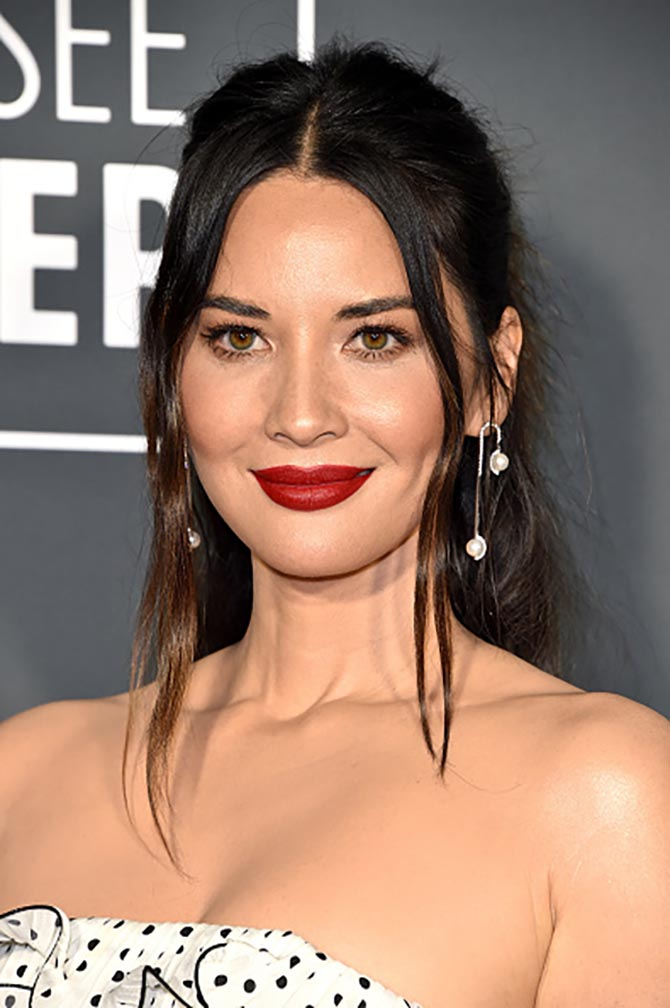 Olivia Munn wore State Property Unfold Rhyme Major Earrings in White Gold with South Sea Pearls and White Diamonds at the Critics' Choice Awards.