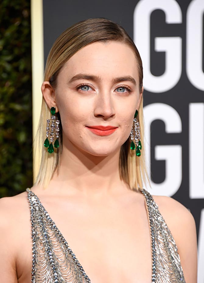 Saoirse Ronan in diamond and emerald earrings by Chopard