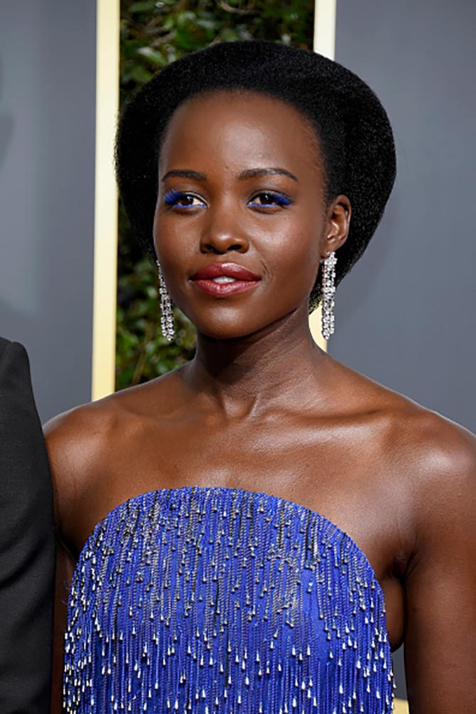 Lupita Nyong'o in High Jewelry Bulgari diamond earrings