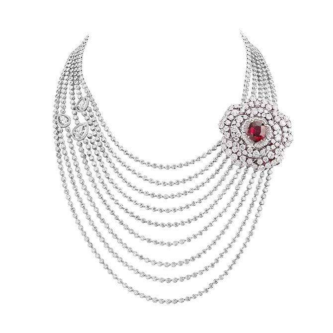 The Rouge Incandescent diamond and ruby transformable High Jewelry necklace by Chanel