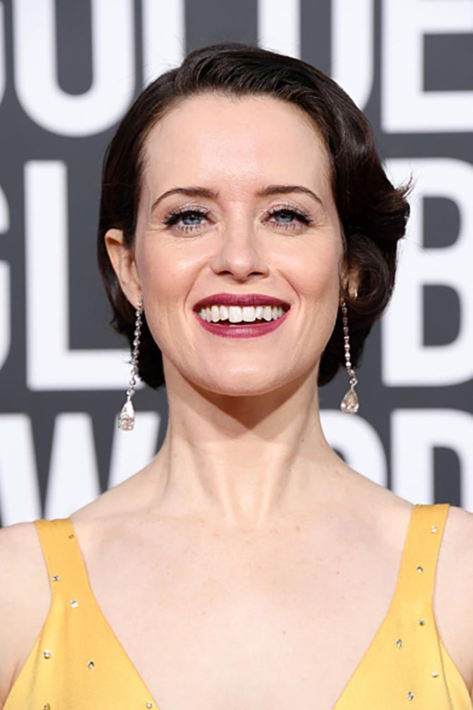 Claire Foy in diamond earrings by Lorraine Schwartz