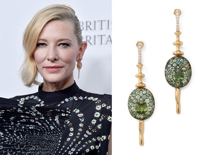 Cate Blanchett wearing Vram earrings at the 2018 British Academy Britannia Awards and Vram green sapphire gold and silver Chroma earrings. Photo Getty and Goop