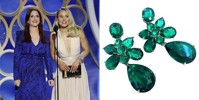 Meghan Mullaly in Gismondi emerald earrings and Kristen Bell in Harry Winston