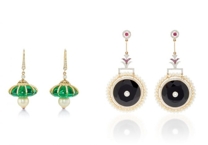 Hanut Singh's Emperor's Cap earrings of Hydra, diamonds, gold and pearls and Circle of Life earrings. of pearl, onyx, rubies and diamonds Photo Moda Operandi