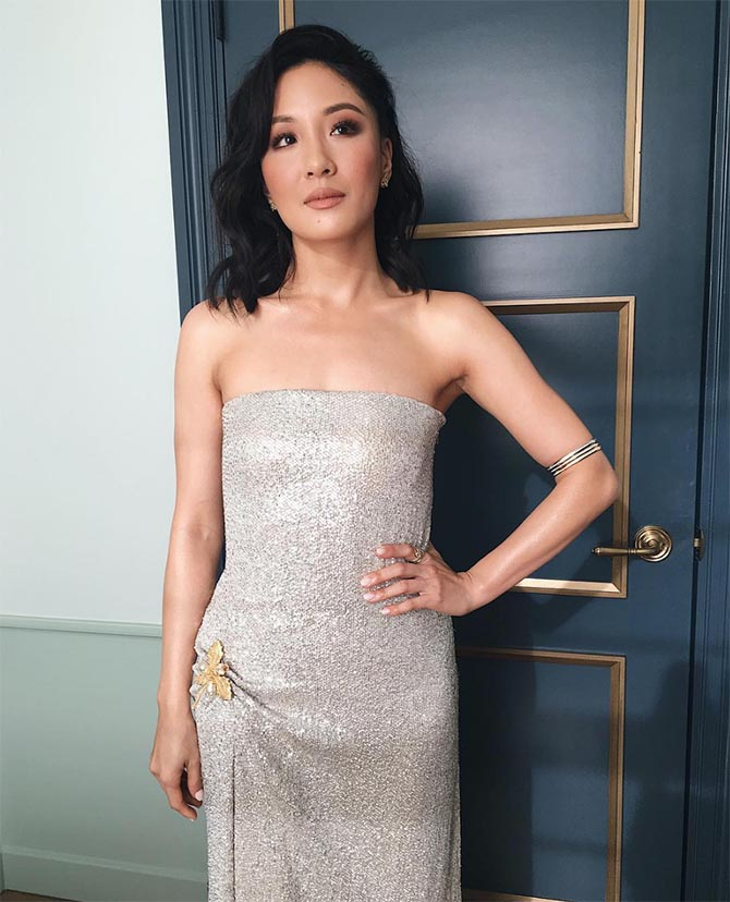Constance Wu in Harry Winston jewels at the SAG Awards
