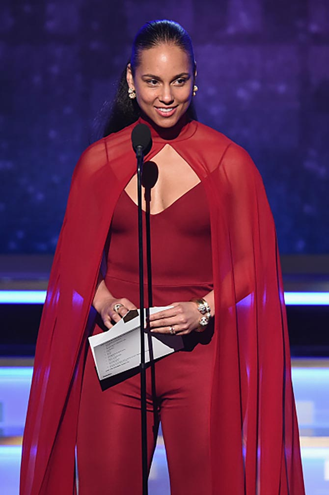 Alicia Keys in Cartier and David Webb at the Grammys.