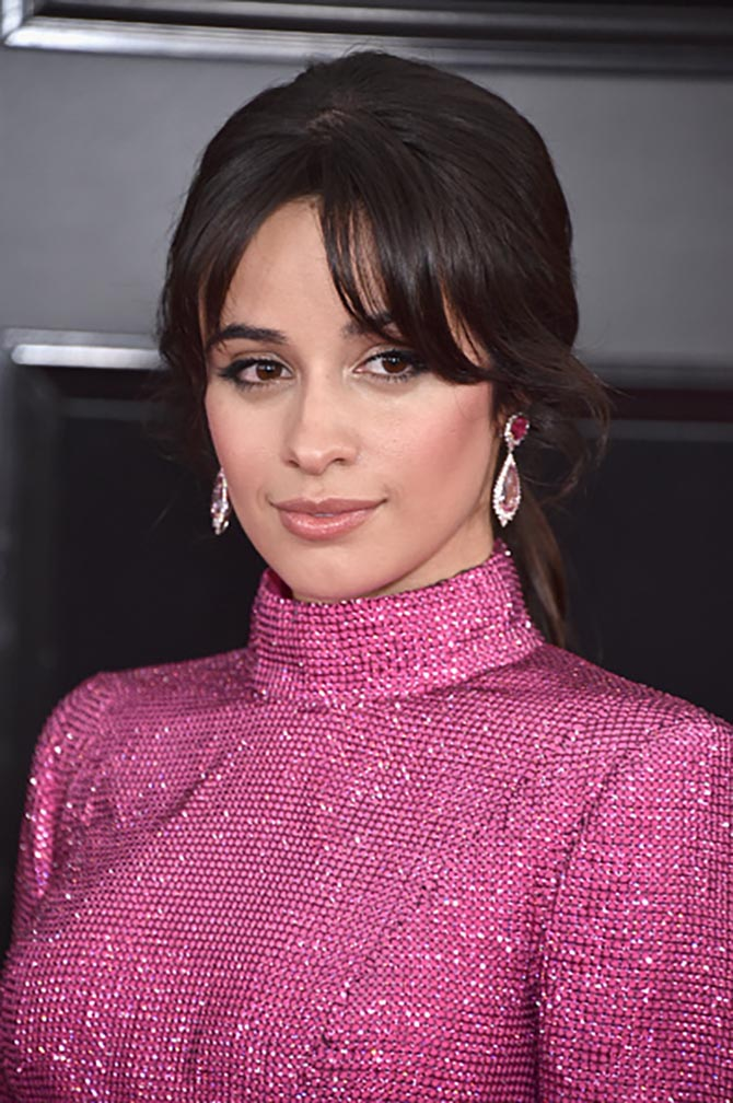 Camila Cabello wore earrings by Harry Winston at the Grammys