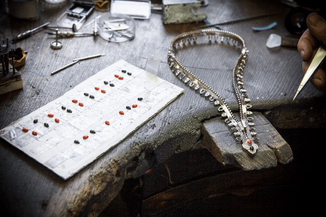 A Van Cleef & Arpels Zip necklace being carefully created on the work bench. Photo courtesy