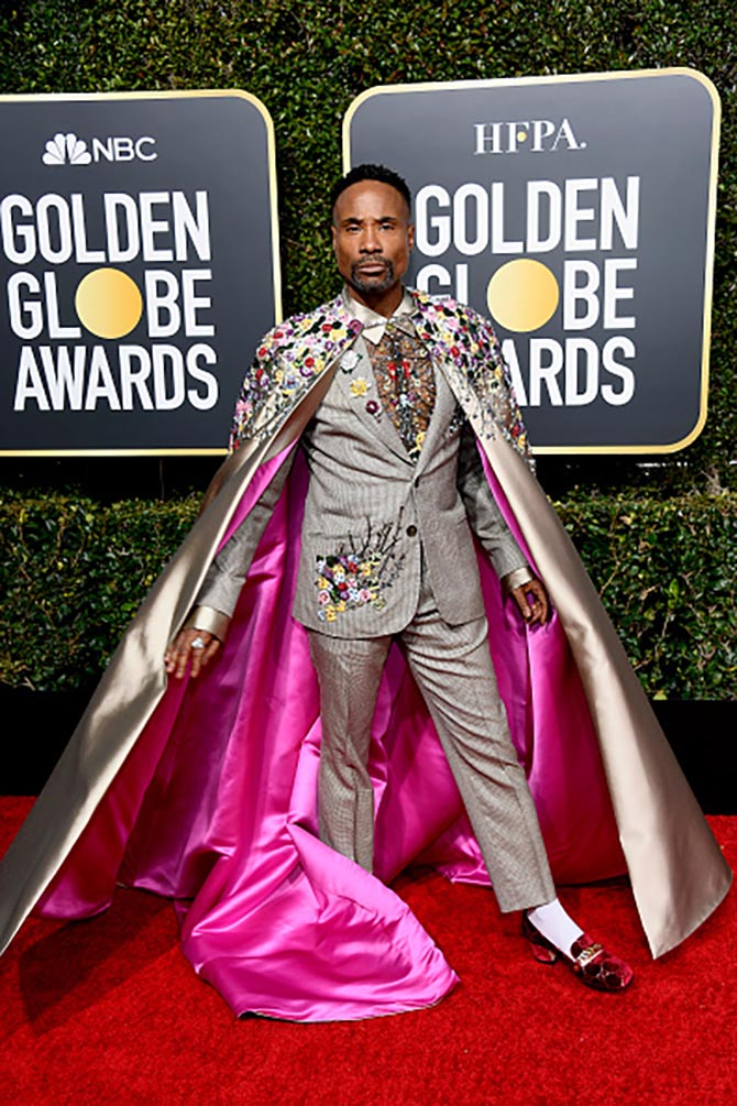 Billy Porter wore Oscar Heyman flower brooches on his lapel at the 2019 Golden Globes.