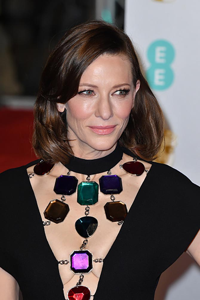 Cate Blanchett wore a custom Christopher Kane with a bejeweled bodice.