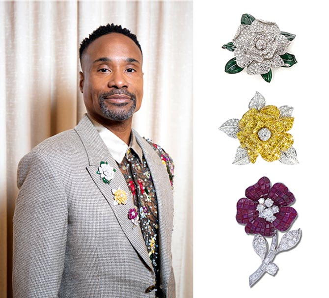 Billy Porter wore Oscar Heyman flower brooches on his lapel at the 2019 Golden Globes. Photo Getty
