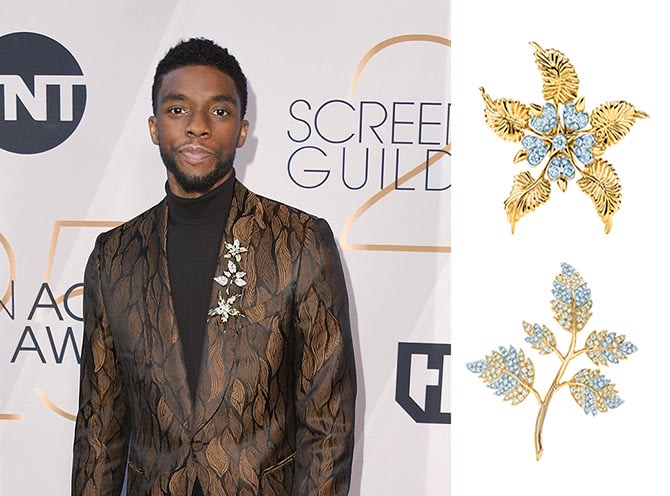 Chadwick Boseman and two of the Tiffany brooches designed Schlumberger he wore at the SAG Awards. Photo Getty