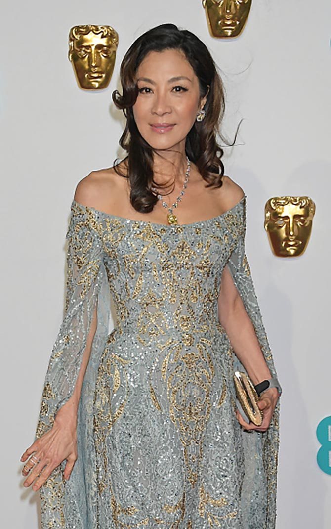 Michelle Yeoh wore a dazzling diamond necklace and earrings.