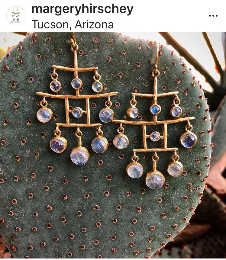Margery Hirschey earrings on a cactus in Tucson