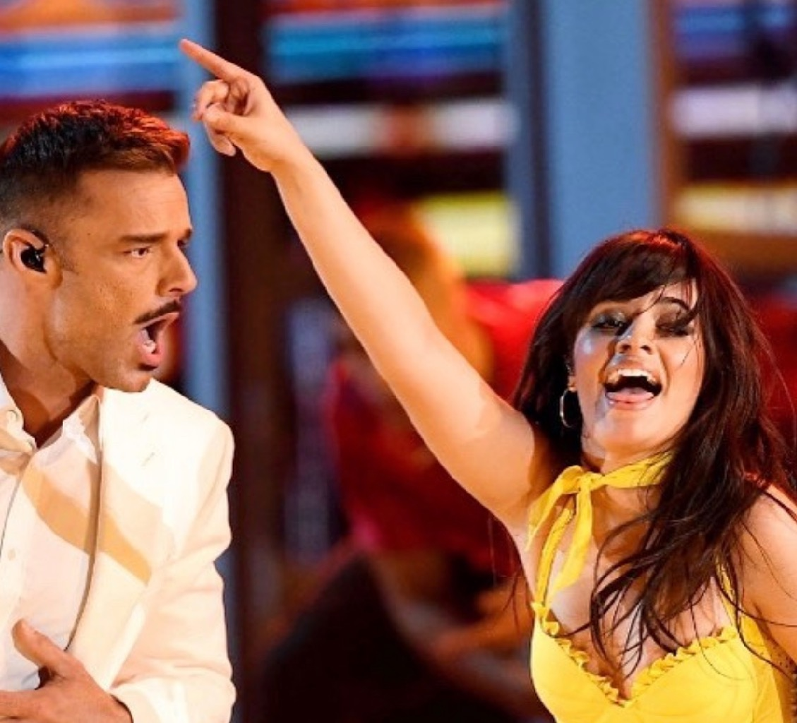 Camila Cabello in Jennifer Fisher hoops with Ricky Martin