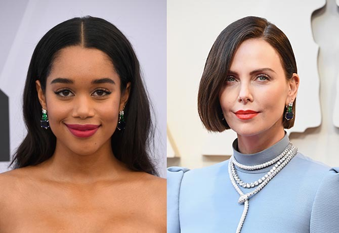 Laura Harrier and Charlize Theron in the same Bulgari earrings.