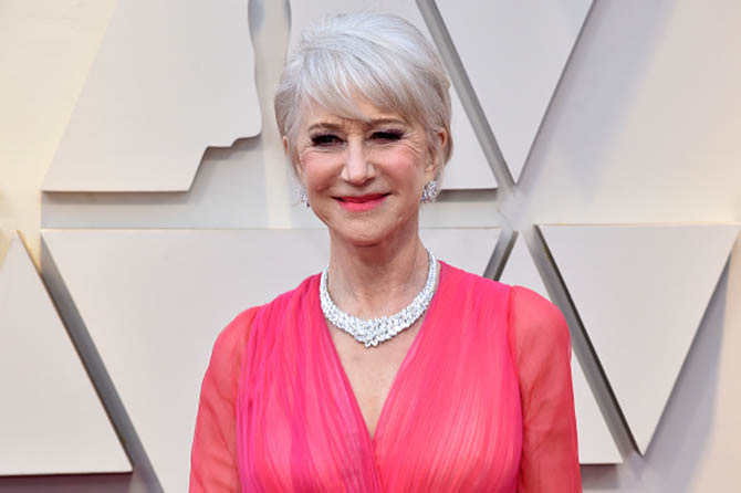 Helen Mirren wore a 136.66-carat diamond and platinum necklace by Harry Winston