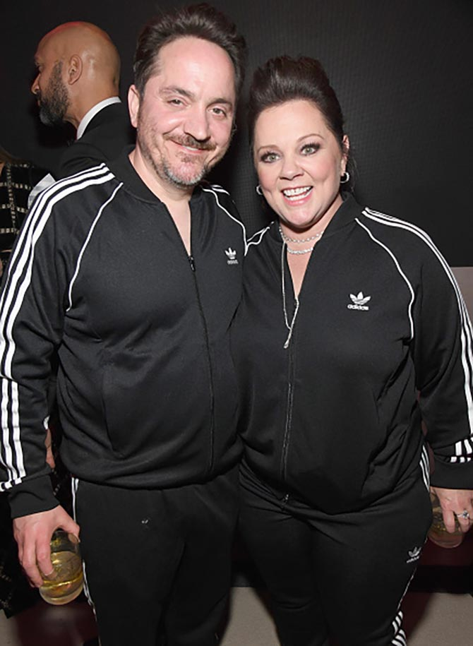 Ben Falcone with Melissa McCarthy in Forevermark diamond jewels.