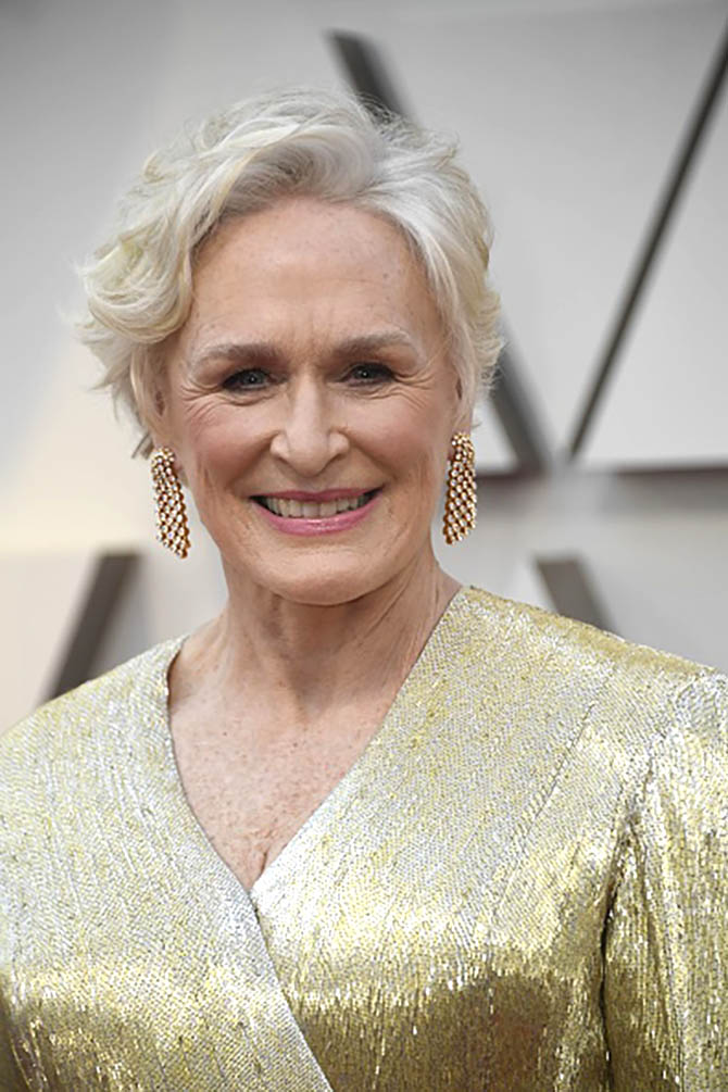 Glenn Close in diamond earrings by Cartier