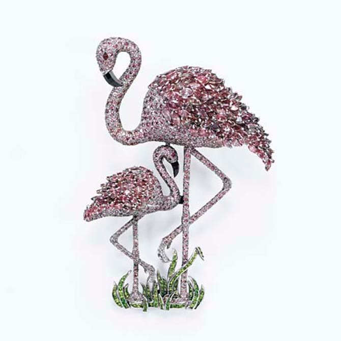 The pink diamond Flamingo Mother and Child brooch by Ralph Esmerian has demantoid garnet grass. Photo Christie's