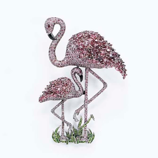 The pink diamond Flamingo Mother and Child brooch by Ralph Esmerian has demantoid garnet grass. Photo Christie's
