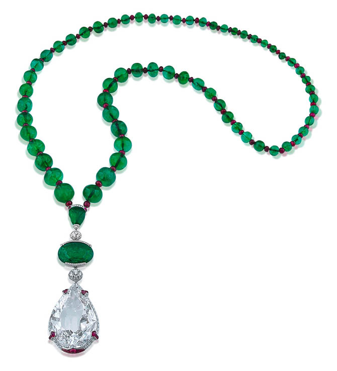 The historic 120.80-carat Nizam Diamond suspended from an emerald bead and ruby necklace by Siegelson. Photo courtesy