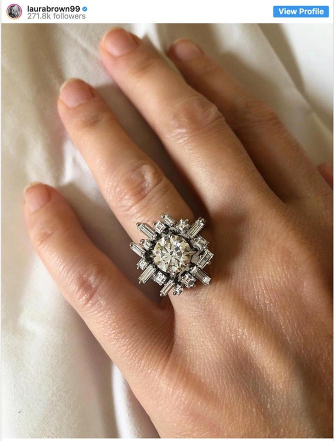 Laura Brown's Instagram of her engagement ring by Canturi Photo via @laurabrown99