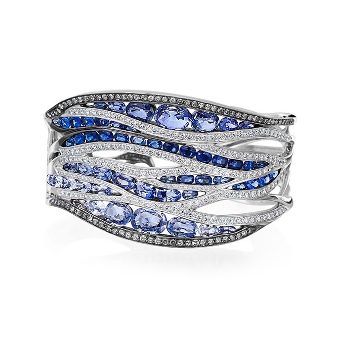 The statement cuff from Maria Canale's Wave collection is set with sapphires and diamonds. Photo courtesy