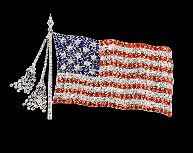 Tiffany brooch depicting America's first flag.