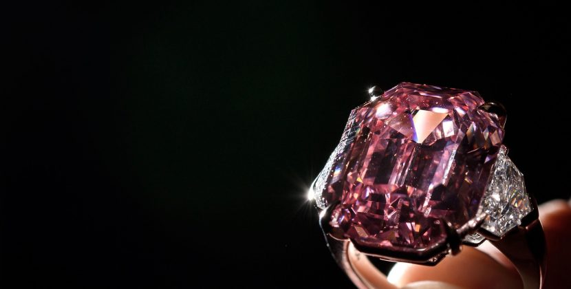 The 18.96-carat Winston Pink Legacy diamond set in a diamond and platinum ring that was purchased at Christie's in Geneva for $50-million. Photo Getty