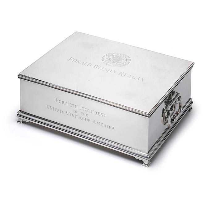 President Ronald Reagan's Tiffany silver humidor and music box. Photo Tiffany & Co.