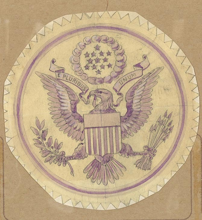 A rendering of the Great Seal by Tiffany designer James Horton Whitehouse
