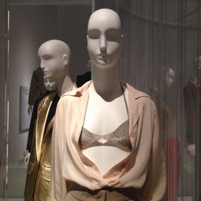 Elsa Peretti silver mesh bra shown with an Halston ensemble at the 2015 'Yves Saint Laurent and Halston: Fashioning the '70s' at the Fashion Institute of Technology in New York. Photo Marion Fasel