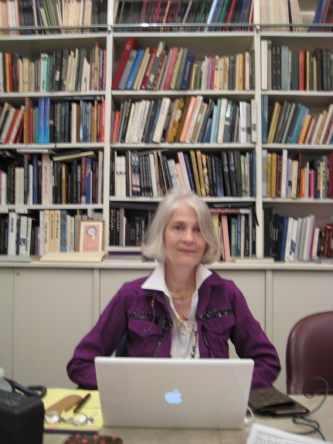 I realize this image is a bit blurry but I wanted to share it because it shows Penny seated at the conference table in the library at R. Esmerian, Inc. Photo Marion Fasel