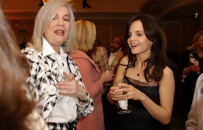 Penny Proddow talking with Mena Suvari at an InStyle magazine event in Los Angeles around 2007. Photo Getty