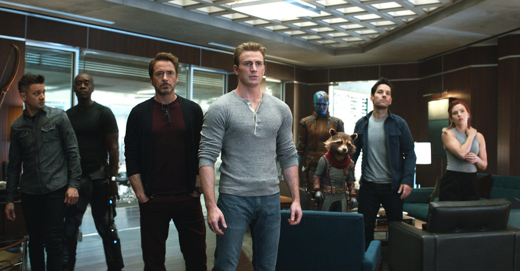 A scene from 'Avengers: Endgame' with Jeremy Renner, Don Cheadle, Robert Downey Jr., Chris Evans, Karen Gillan, Bradley Cooper (the voice of Rocket Raccoon), Paul Rudd and Scarlett Johansson. Photo Marvel Studios