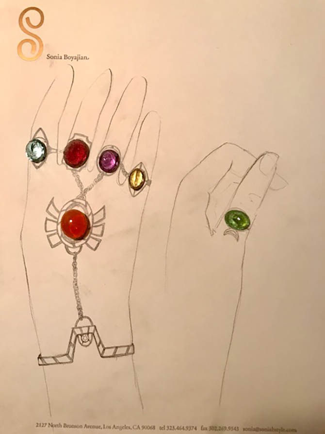 Design for Scarlett Johannson Thanos Glove jewel by Sonia Boyajian with the gems laid on top. Photo Sonia Boyajian