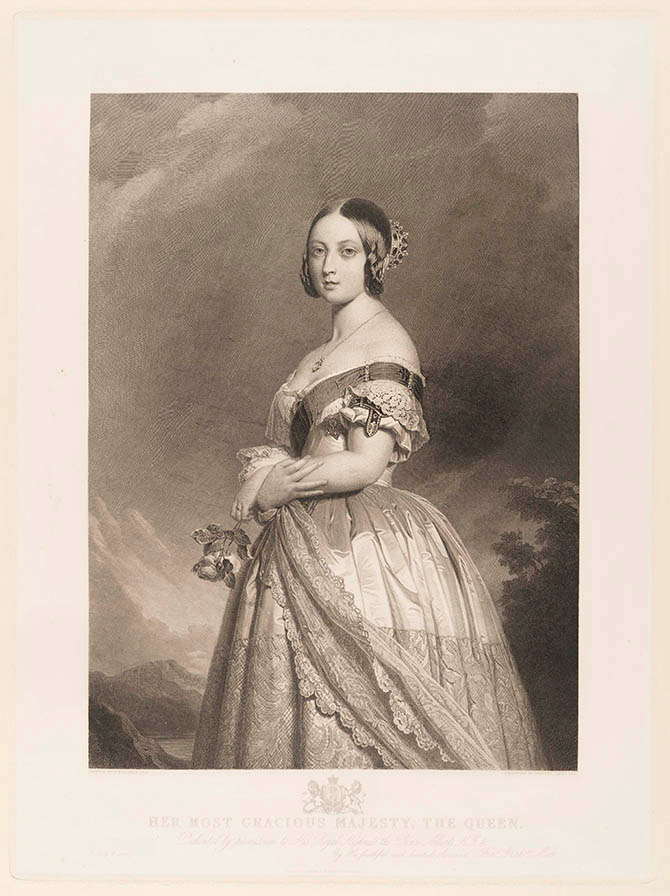 Queen Victoria, François Forster (1790-1872), Paris, 1846, after Franz Xaver Winterhalter (1805-73). Engraving on paper © Victoria and Albert Museum, London