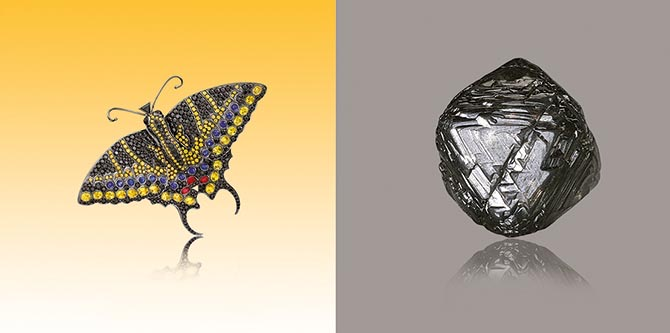 Paula Crevoshay black diamond Swallowtail brooch accented with yellow sapphires, Montana sapphires, amethyst and spinel and a black diamond rough. Photo by Christopher Chavez from the 'Art of the Jewel' book.