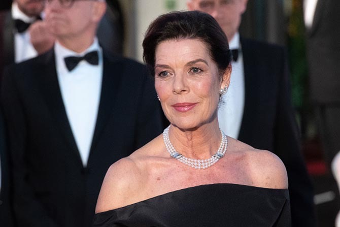 Princess Caroline wearing Grace Kelly's Van Cleef & Arpels pearl and diamond jewels at the Rose Ball 2019 To Benefit The Princess Grace Foundation. Photo Getty