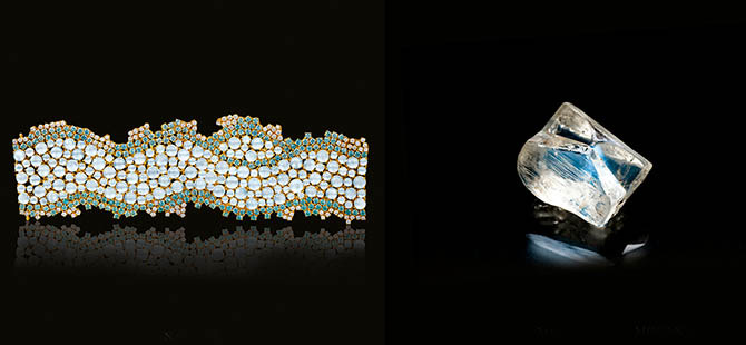 Paula Crevoshay Nam Lai moonstone, zircon and diamond bracelet bracelet and a rough moonstone. Photo by Christopher Chavez from the 'Art of the Jewel' book.